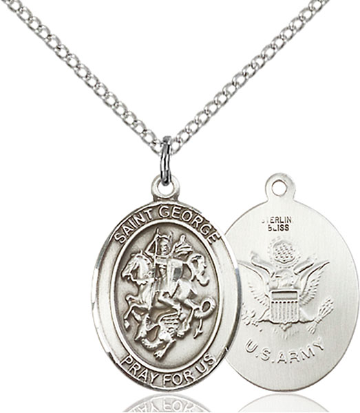 St. George / Army Pendant St. George / Army ,Boy Scouts and Soldiers,Military,Army, sterling silver medals, gold filled medals, patron, saints, saint medal, saint pendant, saint necklace, 8040,7040 Army,9040 Army,