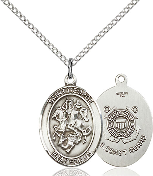 St. George / Coast Guard Pendant St. George / Coast Guard ,Boy Scouts and Soldiers,Military,Coast Guard, sterling silver medals, gold filled medals, patron, saints, saint medal, saint pendant, saint necklace, 8040,7040 Coast Guard,9040 Coast Guard,