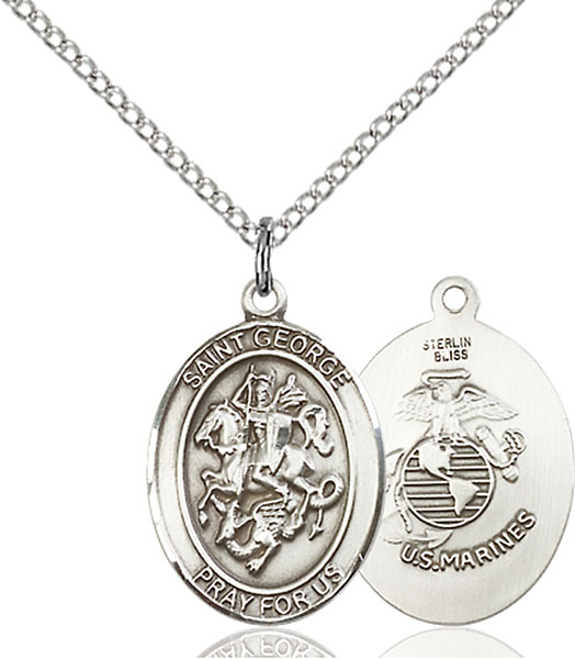 St. George / Marines Pendant St. George / Marines ,Boy Scouts and Soldiers,Military,Marines, sterling silver medals, gold filled medals, patron, saints, saint medal, saint pendant, saint necklace, 8040,7040 Marines,9040 Marines,