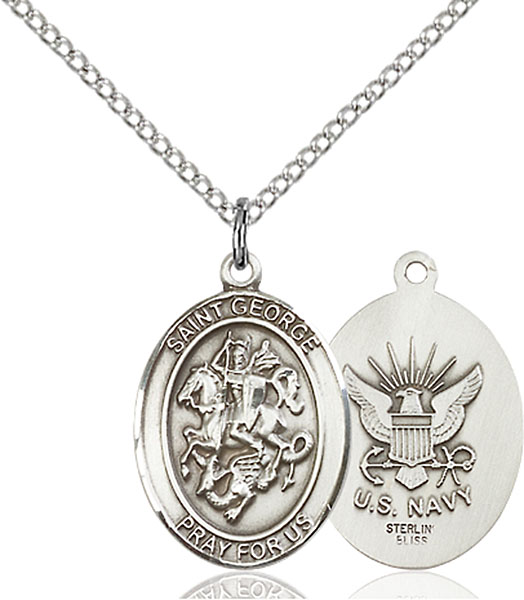 St. George / Navy Pendant St. George / Navy ,Boy Scouts and Soldiers,Military,Navy, sterling silver medals, gold filled medals, patron, saints, saint medal, saint pendant, saint necklace, 8040,7040 Navy,9040 Navy,