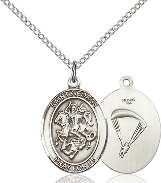 St. George/Paratrooper Pendant St. George/Paratrooper ,Boy Scouts and Soldiers,Military,Paratrooper, sterling silver medals, gold filled medals, patron, saints, saint medal, saint pendant, saint necklace, 8040,7040 Paratrooper,9040 Paratrooper,