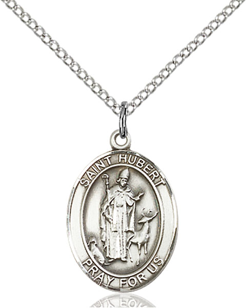 St. Hubert of Liege Pendant St. Hubert Of Liege ,Archers and Hunters and Dogs,Patron Saints,Patron Saints - H, sterling silver medals, gold filled medals, patron, saints, saint medal, saint pendant, saint necklace, 8045,7045,9045,7045SS,8045SS,9045SS,7045GF,8045GF,9045GF,