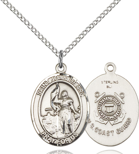 St. Joan of Arc /Coast Guard Pendant St. Joan Of Arc /Coast Guard ,Soldiers and France,Military,Coast Guard, sterling silver medals, gold filled medals, patron, saints, saint medal, saint pendant, saint necklace, 8053,7053 Coast Guard,9053 Coast Guard,