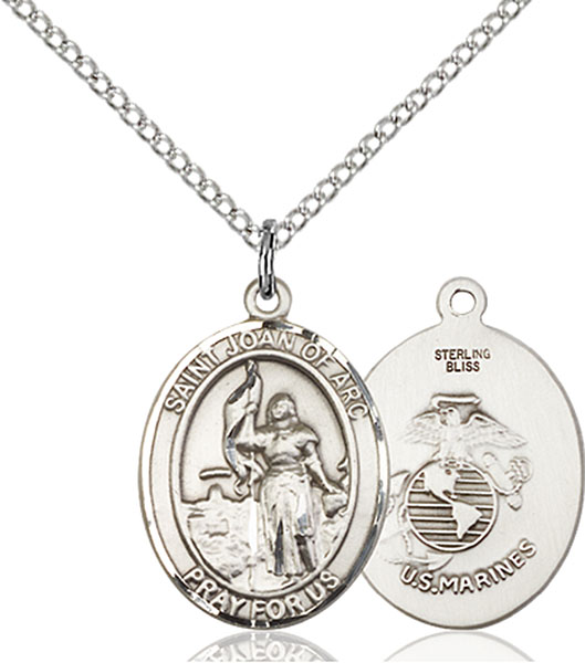 St. Joan of Arc / Marines Pendant St. Joan Of Arc / Marines ,Soldiers and France,Military,Marines, sterling silver medals, gold filled medals, patron, saints, saint medal, saint pendant, saint necklace, 8053,7053 Marines,9053 Marines,