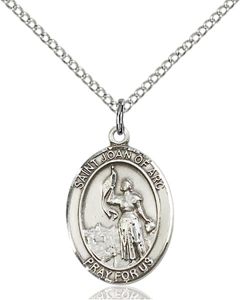 St. Joan of Arc Pendant St. Joan Of Arc ,Soldiers and France,Patron Saints,Patron Saints - J, sterling silver medals, gold filled medals, patron, saints, saint medal, saint pendant, saint necklace, 8053,7053,9053,7053SS,8053SS,9053SS,7053GF,8053GF,9053GF,