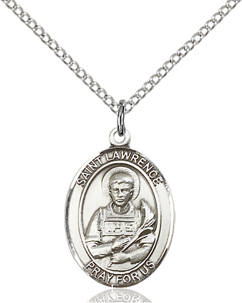 St. Lawrence Pendant St. Lawrence ,Chefs and Comedians,Patron Saints,Patron Saints - L, sterling silver medals, gold filled medals, patron, saints, saint medal, saint pendant, saint necklace, 8063,7063,9063,7063SS,8063SS,9063SS,7063GF,8063GF,9063GF,