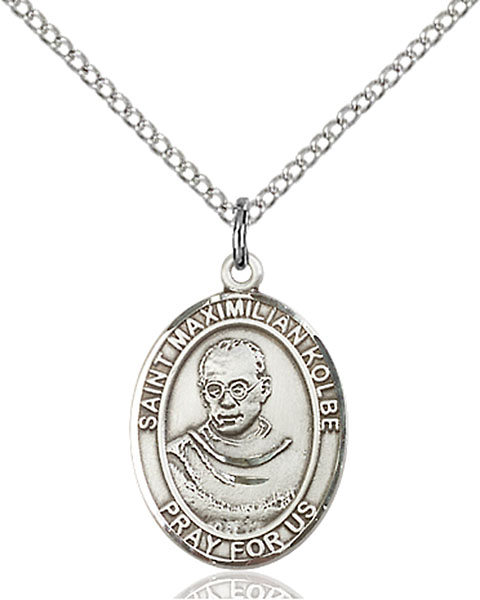 St. Maximilian Kolbe Pendant St. Maximilian Kolbe ,Charity and Drug Abuse,Patron Saints,Patron Saints - M, sterling silver medals, gold filled medals, patron, saints, saint medal, saint pendant, saint necklace, 8073,7073,9073,7073SS,8073SS,9073SS,7073GF,8073GF,9073GF,