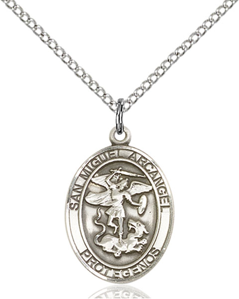 San Miguel Arcangel Pendant San Miguel Arcangel ,Police Officers and EMTs,Patron Saints,Patron Saints - M, sterling silver medals, gold filled medals, patron, saints, saint medal, saint pendant, saint necklace, 8076, spanish medal, spanish necklace,7076 Spanish,9076 Spanish,