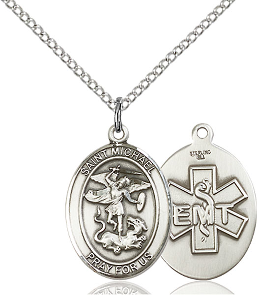 St. Michael / EMT Pendant St. Michael / Emt ,Police Officers and EMTs,Patron Saints,Patron Saints - M, sterling silver medals, gold filled medals, patron, saints, saint medal, saint pendant, saint necklace, 8076,7076 EMT,9076 EMT,