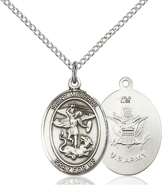 St. Michael / Army Pendant St. Michael / Army ,Police Officers and EMTs,Military,Army, sterling silver medals, gold filled medals, patron, saints, saint medal, saint pendant, saint necklace, 8076,7076 Army,9076 Army,