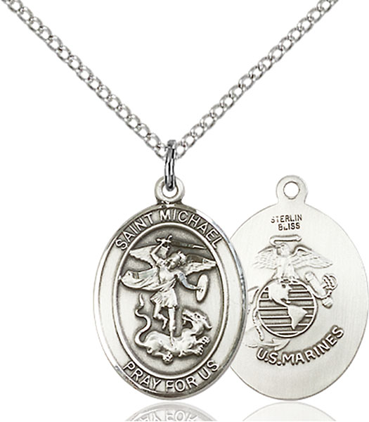 St. Michael / Marines Pendant St. Michael / Marines ,Police Officers and EMTs,Military,Marines, sterling silver medals, gold filled medals, patron, saints, saint medal, saint pendant, saint necklace, 8076,7076 Marines,9076 Marines,