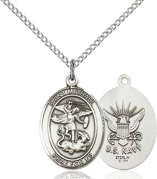 St. Michael / Navy Pendant St. Michael / Navy ,Police Officers and EMTs,Military,Navy, sterling silver medals, gold filled medals, patron, saints, saint medal, saint pendant, saint necklace, 8076,7076 Navy,9076 Navy,