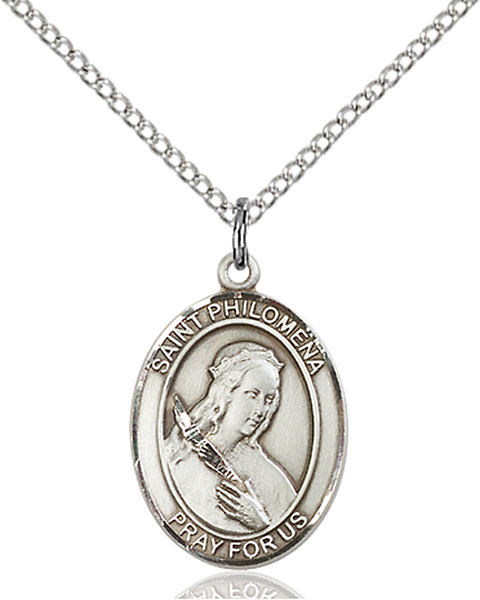 St. Philomena Pendant St. Philomena ,Children,Patron Saints,Patron Saints - P, sterling silver medals, gold filled medals, patron, saints, saint medal, saint pendant, saint necklace, 8077,7077,9077,7077SS,8077SS,9077SS,7077GF,8077GF,9077GF,