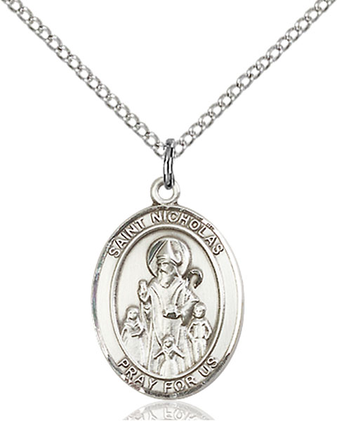 St. Nicholas Pendant St. Nicholas ,Bakers and Brides and Children,Patron Saints,Patron Saints - N, sterling silver medals, gold filled medals, patron, saints, saint medal, saint pendant, saint necklace, 8080,7080,9080,7080SS,8080SS,9080SS,7080GF,8080GF,9080GF,