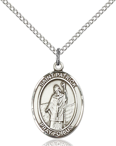 St. Patrick Pendant St. Patrick ,Snakes and Engineers and Ireland,Patron Saints,Patron Saints - P, sterling silver medals, gold filled medals, patron, saints, saint medal, saint pendant, saint necklace, 8084,7084,9084,7084SS,8084SS,9084SS,7084GF,8084GF,9084GF,