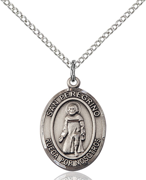San Peregrino Pendant San Peregrino ,Cancer and Running Sores,Patron Saints,Patron Saints - P, sterling silver medals, gold filled medals, patron, saints, saint medal, saint pendant, saint necklace, 8088, spanish medal, spanish necklace,7088 Spanish,9088 Spanish,