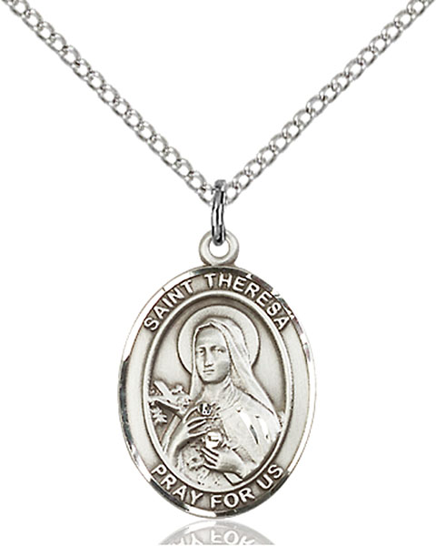 St. Theresa Pendant St. Theresa ,Foreign Missions,Patron Saints,Patron Saints - T, sterling silver medals, gold filled medals, patron, saints, saint medal, saint pendant, saint necklace, 8106,7106,9106,7106SS,8106SS,9106SS,7106GF,8106GF,9106GF,