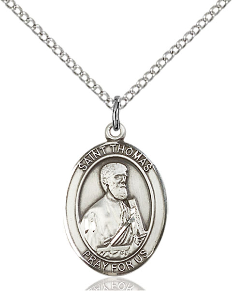 St. Thomas The Apostle Pendant St. Thomas The Apostle ,Architects and Blind People,Patron Saints,Patron Saints - T, sterling silver medals, gold filled medals, patron, saints, saint medal, saint pendant, saint necklace, 8107,7107,9107,7107SS,8107SS,9107SS,7107GF,8107GF,9107GF,