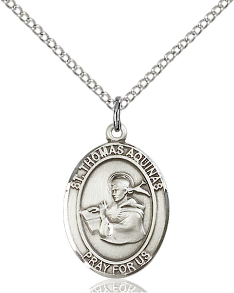 St. Thomas Aquinas Pendant St. Thomas Aquinas ,Catholic Schools and Students,Patron Saints,Patron Saints - T, sterling silver medals, gold filled medals, patron, saints, saint medal, saint pendant, saint necklace, 8108,7108,9108,7108SS,8108SS,9108SS,7108GF,8108GF,9108GF,