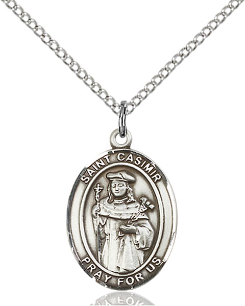 St. Casimir of Poland Pendant St. Casimir Of Poland ,Bachelors and Poland,Patron Saints,Patron Saints - C, sterling silver medals, gold filled medals, patron, saints, saint medal, saint pendant, saint necklace, 8113,7113,9113,7113SS,8113SS,9113SS,7113GF,8113GF,9113GF,