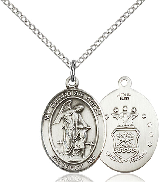 Guardian Angel / Air Force Pendant Guardian Angel / Air Force,Military,Air Force, sterling silver medals, gold filled medals, patron, saints, saint medal, saint pendant, saint necklace, 8118,7118 Air Force,9118 Air Force,