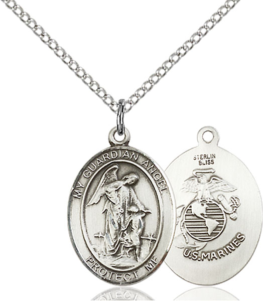 Guardian Angel / Marine Corp Pendant Guardian Angel / Marine Corp,Military,Marines, sterling silver medals, gold filled medals, patron, saints, saint medal, saint pendant, saint necklace, 8118,7118 Marines,9118 Marines,
