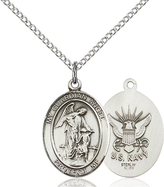 Guardian Angel / Navy Pendant Guardian Angel / Navy,Military,Navy, sterling silver medals, gold filled medals, patron, saints, saint medal, saint pendant, saint necklace, 8118,7118 Navy,9118 Navy,