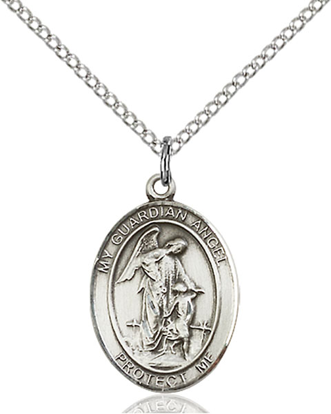 Guardian Angel Pendant Guardian Angel,Unusual & Specialty,Angels, sterling silver medals, gold filled medals, patron, saints, saint medal, saint pendant, saint necklace, 8118,7118,9118,7118SS,8118SS,9118SS,7118GF,8118GF,9118GF,