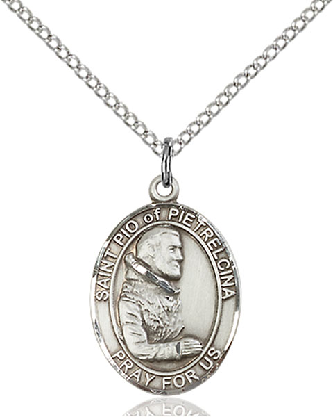 St. Pio of Pietrelcina Pendant St. Pio Of Pietrelcina ,Civil Defense Volunteers,Patron Saints,Patron Saints - P, sterling silver medals, gold filled medals, patron, saints, saint medal, saint pendant, saint necklace, 8125,7125,9125,7125SS,8125SS,9125SS,7125GF,8125GF,9125GF,