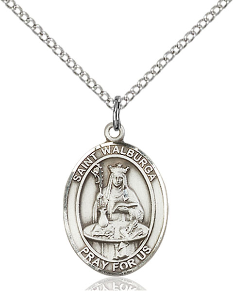 St. Walburga Pendant St. Walburga ,Coughs and Storms,Patron Saints,Patron Saints - W, sterling silver medals, gold filled medals, patron, saints, saint medal, saint pendant, saint necklace, 8126,7126,9126,7126SS,8126SS,9126SS,7126GF,8126GF,9126GF,