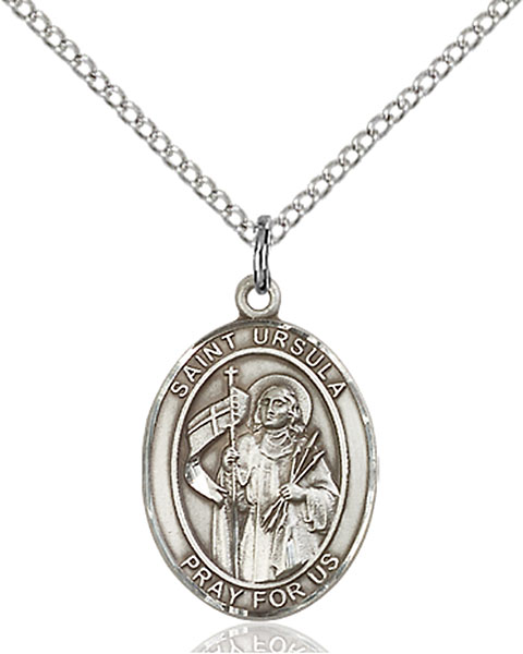St. Ursula Pendant St. Ursula ,Catholic Education,Patron Saints,Patron Saints - U, sterling silver medals, gold filled medals, patron, saints, saint medal, saint pendant, saint necklace, 8127,7127,9127,7127SS,8127SS,9127SS,7127GF,8127GF,9127GF,