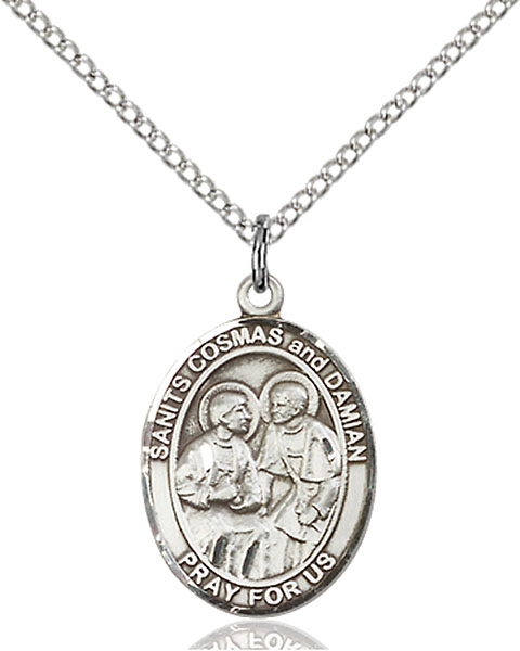 Sts. Cosmas & Damian Pendant Sts. Cosmas & Damian ,Surgeons and Barbers,Patron Saints,Patron Saints - C, sterling silver medals, gold filled medals, patron, saints, saint medal, saint pendant, saint necklace, 8132,7132,9132,7132SS,8132SS,9132SS,7132GF,8132GF,9132GF,