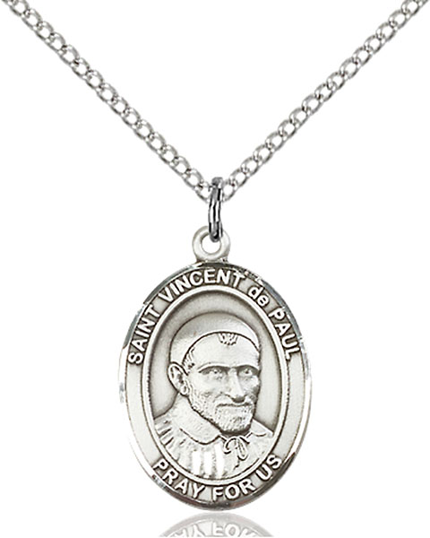 St. Vincent De Paul Pendant St. Vincent De Paul ,Charities and Caregivers,Patron Saints,Patron Saints - V, sterling silver medals, gold filled medals, patron, saints, saint medal, saint pendant, saint necklace, 8134,7134,9134,7134SS,8134SS,9134SS,7134GF,8134GF,9134GF,