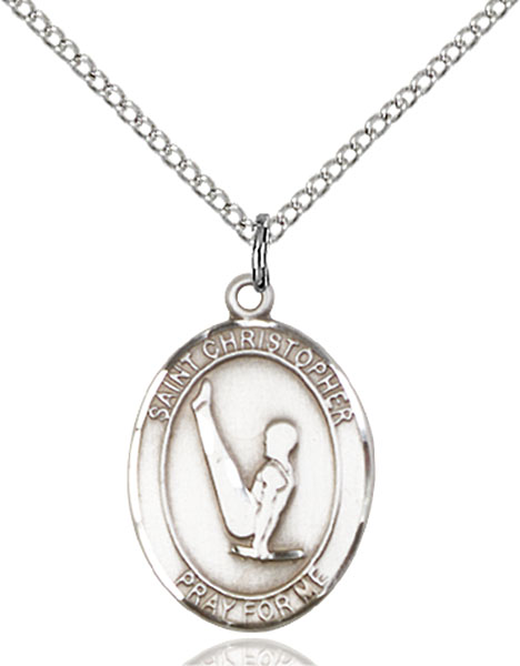 St. Christopher/Gymnastics Pendant St. Christopher/Gymnastics ,Travelers and Motorists,Patron Sports,Gymnastics, sterling silver medals, gold filled medals, patron, saints, saint medal, saint pendant, saint necklace, 8142,7142,9142,7142SS,8142SS,9142SS,7142GF,8142GF,9142GF,