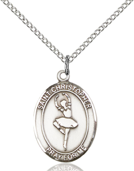 St. Christopher/Dance Pendant St. Christopher/Dance ,Travelers and Motorists,Patron Sports,Dance, sterling silver medals, gold filled medals, patron, saints, saint medal, saint pendant, saint necklace, 8143,7143,9143,7143SS,8143SS,9143SS,7143GF,8143GF,9143GF,