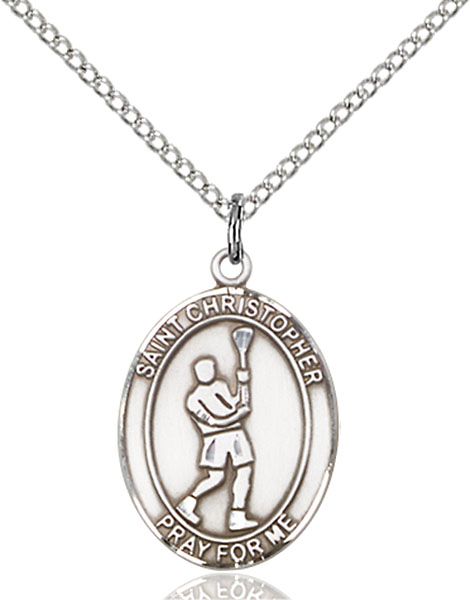 St. Christopher/Lacrosse Pendant St. Christopher/Lacrosse ,Travelers and Motorists,Patron Sports,LaCrosse, sterling silver medals, gold filled medals, patron, saints, saint medal, saint pendant, saint necklace, 8144,7144,9144,7144SS,8144SS,9144SS,7144GF,8144GF,9144GF,
