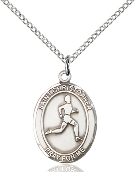 St. Christopher/Track & Field Pendant St. Christopher/Track & Field ,Travelers and Motorists,Patron Sports,TrackField, sterling silver medals, gold filled medals, patron, saints, saint medal, saint pendant, saint necklace, 8149,7149,9149,7149SS,8149SS,9149SS,7149GF,8149GF,9149GF,