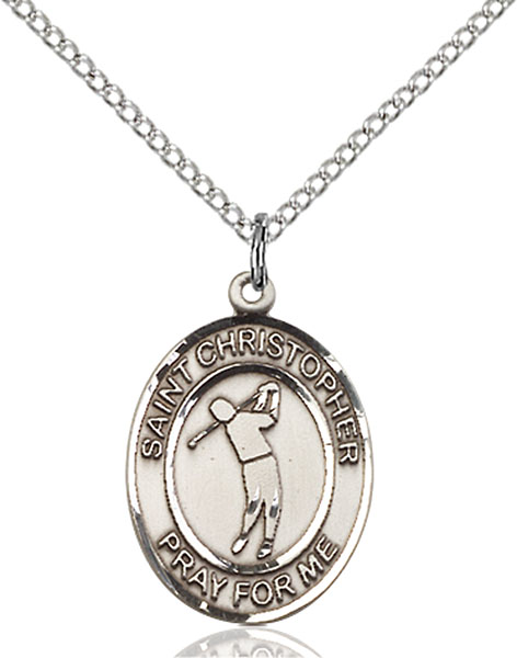 St. Christopher/Golf Pendant St. Christopher/Golf ,Travelers and Motorists,Patron Sports,Golf, sterling silver medals, gold filled medals, patron, saints, saint medal, saint pendant, saint necklace, 8152,7152,9152,7152SS,8152SS,9152SS,7152GF,8152GF,9152GF,