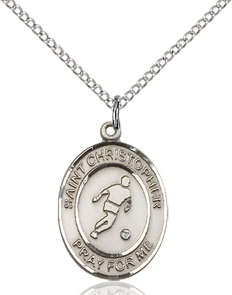 St. Christopher/Soccer Pendant St. Christopher/Soccer ,Travelers and Motorists,Patron Sports,Soccer, sterling silver medals, gold filled medals, patron, saints, saint medal, saint pendant, saint necklace, 8154,7154,9154,7154SS,8154SS,9154SS,7154GF,8154GF,9154GF,