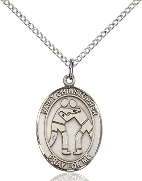 St. Christopher/Wrestling Pendant St. Christopher/Wrestling ,Travelers and Motorists,Patron Sports,Wrestling, sterling silver medals, gold filled medals, patron, saints, saint medal, saint pendant, saint necklace, 8159,7159,9159,7159SS,8159SS,9159SS,7159GF,8159GF,9159GF,