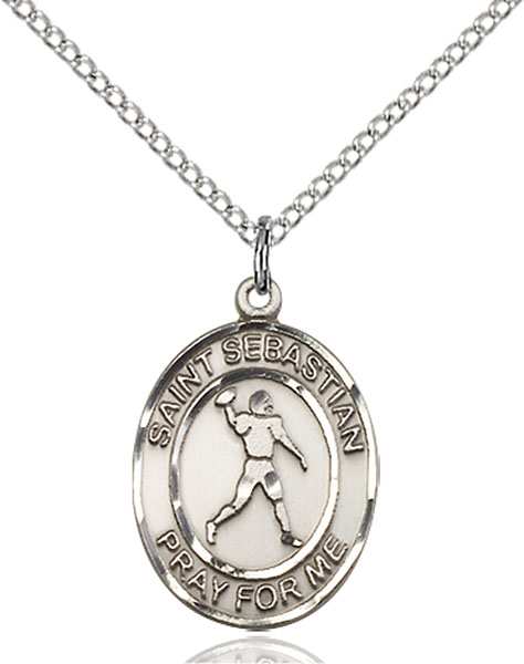St. Sebastian/Football Pendant St. Sebastian/Football ,Athletes and Soldiers,Patron Sports,Football, sterling silver medals, gold filled medals, patron, saints, saint medal, saint pendant, saint necklace, 8161,7161,9161,7161SS,8161SS,9161SS,7161GF,8161GF,9161GF,