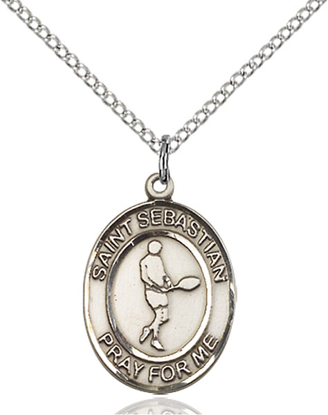 St. Sebastian/Tennis Pendant St. Sebastian/Tennis ,Athletes and Soldiers,Patron Sports,Tennis, sterling silver medals, gold filled medals, patron, saints, saint medal, saint pendant, saint necklace, 8166,7166,9166,7166SS,8166SS,9166SS,7166GF,8166GF,9166GF,