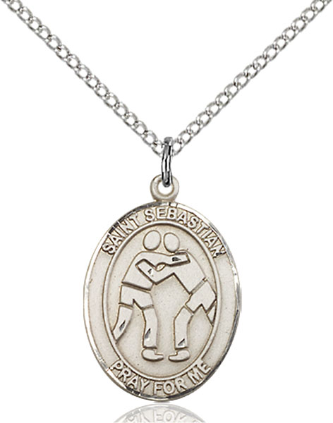St. Sebastian/Wrestling Pendant St. Sebastian/Wrestling ,Athletes and Soldiers,Patron Sports,Wrestling, sterling silver medals, gold filled medals, patron, saints, saint medal, saint pendant, saint necklace, 8171,7171,9171,7171SS,8171SS,9171SS,7171GF,8171GF,9171GF,