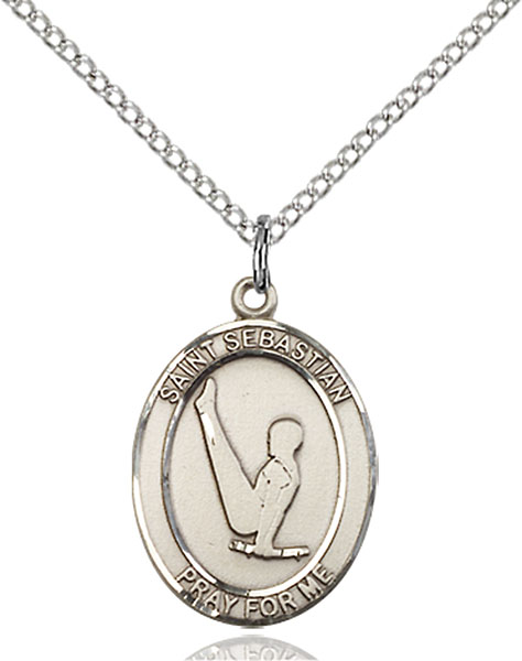St. Sebastian/Gymnastics Pendant St. Sebastian/Gymnastics ,Athletes and Soldiers,Patron Sports,Gymnastics, sterling silver medals, gold filled medals, patron, saints, saint medal, saint pendant, saint necklace, 8172,7172,9172,7172SS,8172SS,9172SS,7172GF,8172GF,9172GF,
