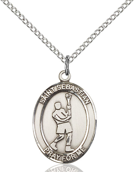 St. Sebastian/Lacrosse Pendant St. Sebastian/Lacrosse ,Athletes and Soldiers,Patron Sports,Lacrosse, sterling silver medals, gold filled medals, patron, saints, saint medal, saint pendant, saint necklace, 8174,7174,9174,7174SS,8174SS,9174SS,7174GF,8174GF,9174GF,