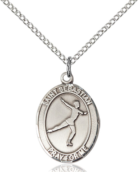St. Sebastian/Figure Skating Pendant St. Sebastian/Figure Skating ,Athletes and Soldiers,Patron Sports,Figure Skating, sterling silver medals, gold filled medals, patron, saints, saint medal, saint pendant, saint necklace, 8177,7177,9177,7177SS,8177SS,9177SS,7177GF,8177GF,9177GF,