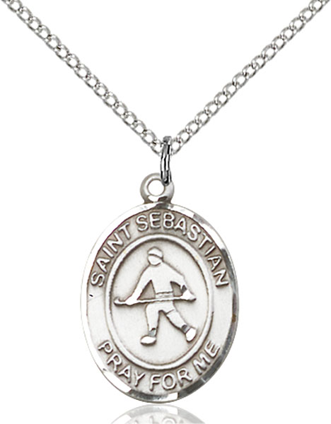 St. Sebastian/Field Hockey Pendant St. Sebastian/Field Hockey ,Athletes and Soldiers,Patron Sports,Field Hockey, sterling silver medals, gold filled medals, patron, saints, saint medal, saint pendant, saint necklace, 8178,7178,9178,7178SS,8178SS,9178SS,7178GF,8178GF,9178GF,