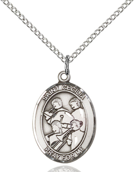 St. Cecilia / Marching Band Pendant St. Cecilia / Marching Band ,Musicians and Singers,Patron Sports,Marching Band, sterling silver medals, gold filled medals, patron, saints, saint medal, saint pendant, saint necklace, 8179,7179,9179,7179SS,8179SS,9179SS,7179GF,8179GF,9179GF,