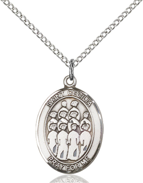 St. Cecilia / Choir Pendant St. Cecilia / Choir ,Musicians and Singers,Patron Sports,Choir, sterling silver medals, gold filled medals, patron, saints, saint medal, saint pendant, saint necklace, 8180,7180,9180,7180SS,8180SS,9180SS,7180GF,8180GF,9180GF,