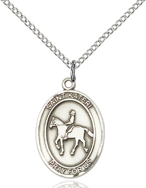 St. Kateri / Equestrian Pendant St. Kateri / Equestrian ,Environment,Patron Sports,Equestrian, sterling silver medals, gold filled medals, patron, saints, saint medal, saint pendant, saint necklace, 8182,7182,9182,7182SS,8182SS,9182SS,7182GF,8182GF,9182GF,